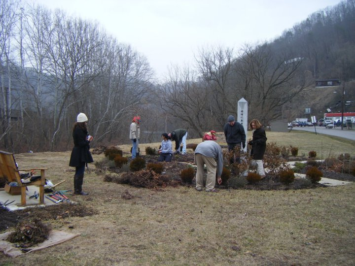Helping out at the Peace Garden