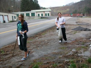 Cleaning up Near the School